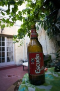 Escudo beer is our favourite...chilling in the hostel courtyard
