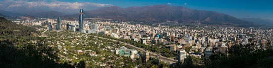 Panoramic view overlooking southwest of Santiago. This is only a quarter of the city...it stretches around 270 degrees to the right around San Cristobal hill we took this photo from.