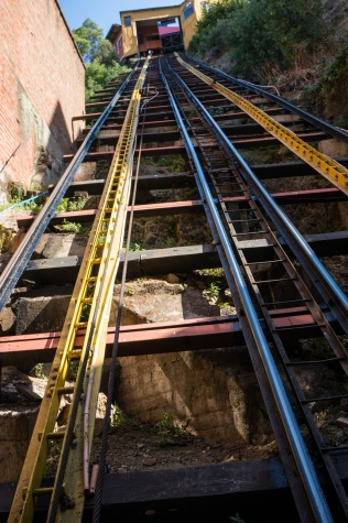 Ascendor - typical funicular in Valparaiso over 90 years old. Used to get up the steep hills about 200 pesos so 50c per ride up.