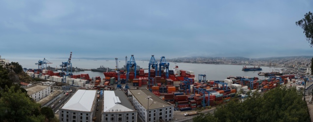 The dock handles a huge amount of containers each day