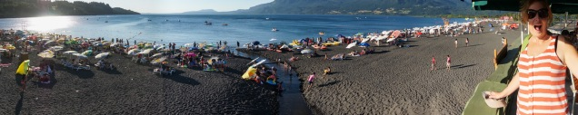 Very crowded Pucon beach