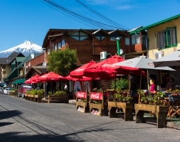 Cafe street scene in Pucon.