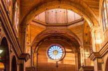Interior of Iglesia San Franscisco, Castro. Extraordinary craftsmanship as everything is made of timber including the vault.