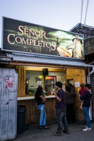 Completo (Hot dog) shops are everywhere in Chile. This one seems to have an interesting brand.