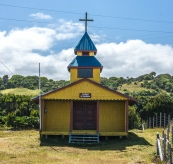 Old Jesuit church at Cucao out in the middle of the wild west coast.