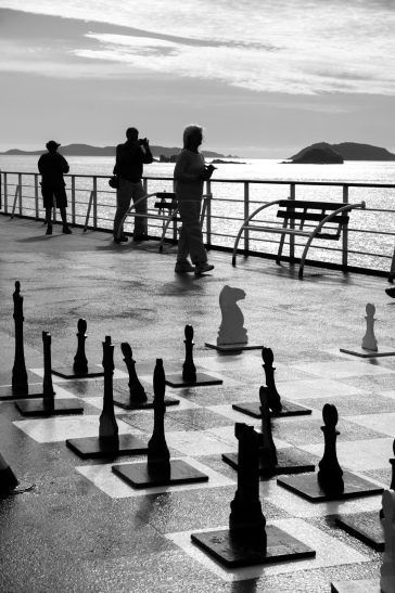 Chess is abandoned as we watch the spectacular exit from the fiords into the ocean
