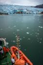 A zodiac is prepared to retrieve some glacier ice.