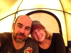 Just after putting oure tent up for the first time
