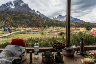Cooking breakfast in the mess area. Not a bad view!